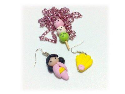 Collana Hanami Dango e orecchini kokeshi doll con ventaglio fimo Japan