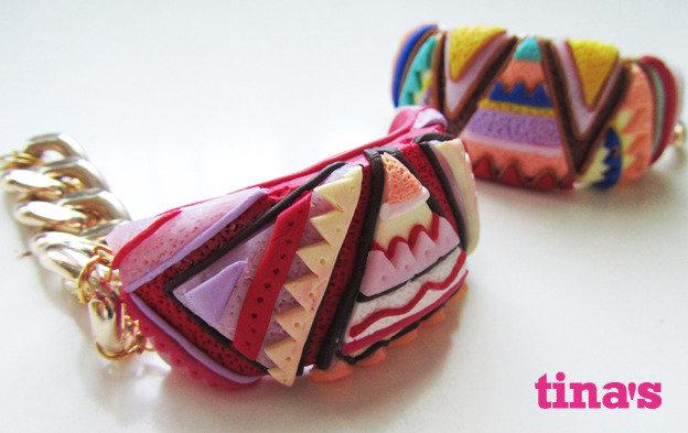 Bracciale semirigido coloratissimo in fimo e cernit fatto a mano VARIANTE ROSSA