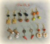 orecchini pendenti in fimo e perle in stile Sicilia Bedda