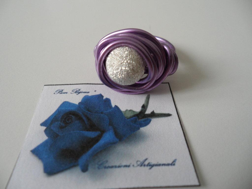 Anello Viola Perla Diamantata