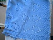 Copertina per carrozzine o culla realizzata a mano in pura lana baby