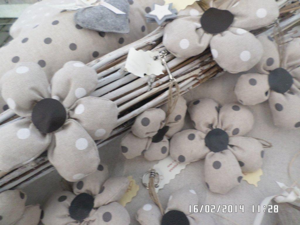 portachiavi fiore in tessuto di cotone