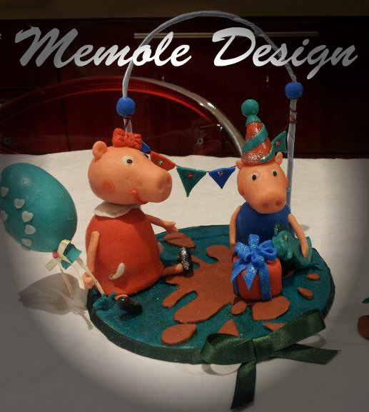 cake topper Peppa Pig memole design