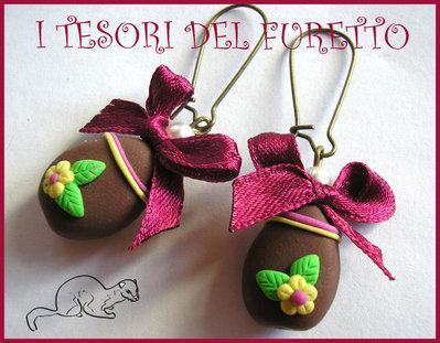 """Orecchini """"Ovetti di Pasqua"""" uova cioccolata fimo cernit kawaii handamade Cioccolato Fiocco bordò"""