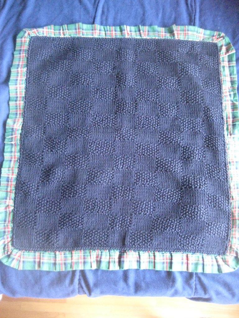 Copertina Neonato Lana leggera Blu e Tessuto a Quadri