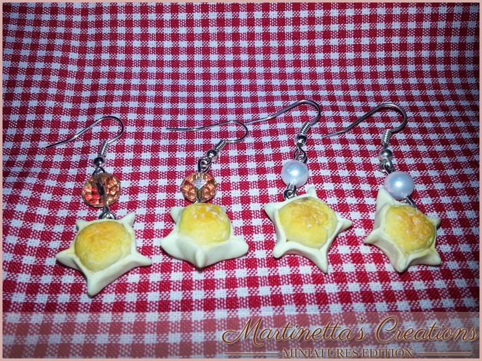 Orecchini pendenti Pardule dolce tipico sardo in fimo da 1 cm ca. realizzati totalmente a mano