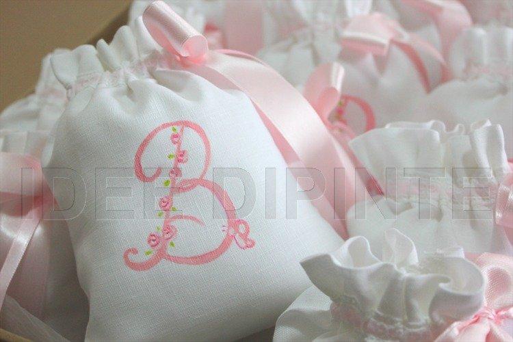 Sacchetti nascita grandi con iniziali dipinte a mano