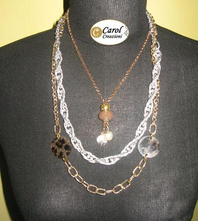 Collana donna con cerchi leopardati