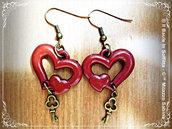 Orecchini pendente cuore e chiave in bronzo