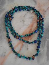 Collana di turchese, lapislazzuli e rame: effetto Antico Egitto