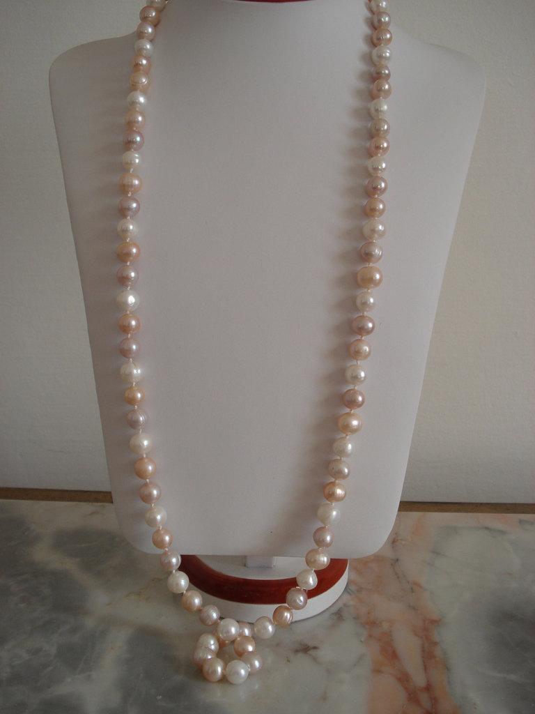 Collana sautoir di perle d'acqua dolce multicolore