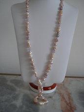 Collana sautoir di perle d'acqua dolce multicolore e ametista lavanda
