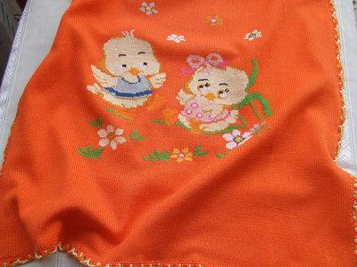 copertina culla maglia cotone ricamata a mano