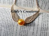 """Collana """"Boccino d'Oro"""" di Harry Potter con ali dorate super dettagliate"""