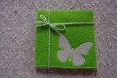 Sottotazza sottobicchiere bomboniera segnaposto feltro verde farfalla