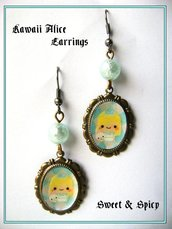 ALICE IN WONDERLAND KAWAII EARRINGS-ORECCHINI KAWAII ALICE IN WONDERLAND