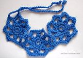 Scaldacollo fiore uncinetto blu ceruleo