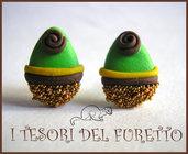 """Orecchini Perno """"Ovetti cioccolata  Pasqua"""" fimo cernit kawaii 2014 uova"""
