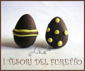 """Orecchini Perno """"Ovetti Uova di Pasqua Cioccolato fondente"""" fimo cernit kawaii bijoux originali"""