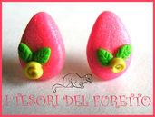 """Orecchini Perno """"Uova di Pasqua Zucchero Rosa"""" fimo cernit pasqua kawaii"""