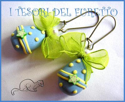 """Orecchini """"Uova di pasqua zuccherati azzurro/stellina verde"""" Cioccolata ovettti Pasqua 2014 fimo cernit kawaii"""