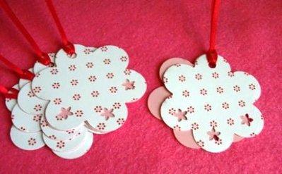 DoubleTags serie Fiori XXL^^ - Lotto Etichette chiudipacco Doppie (5pz) - *Sweet Flowers*
