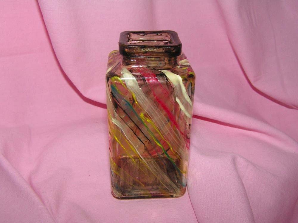 boccetta di vetro a righe multicolori