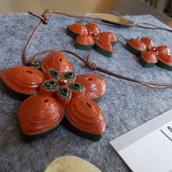 Collana e orecchini fiori aragosta