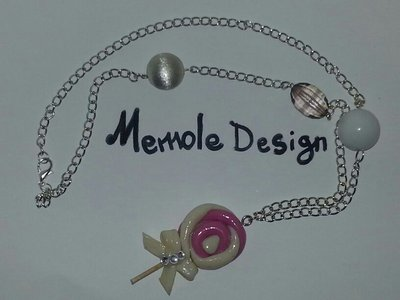 collana lollipop bianco e rosa Memole Design