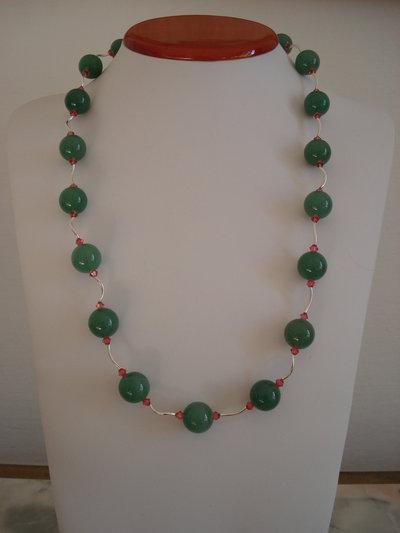 Collana in argento, avventurina verde e Swarovski