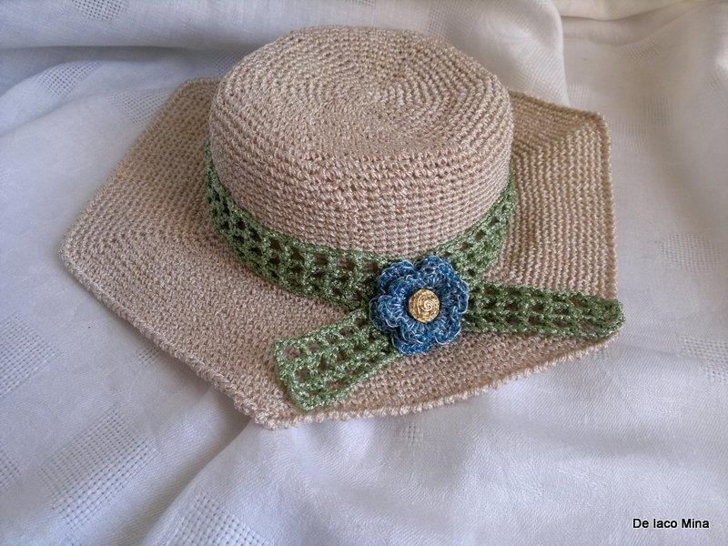 cappello estivo uncinetto di spago lucido