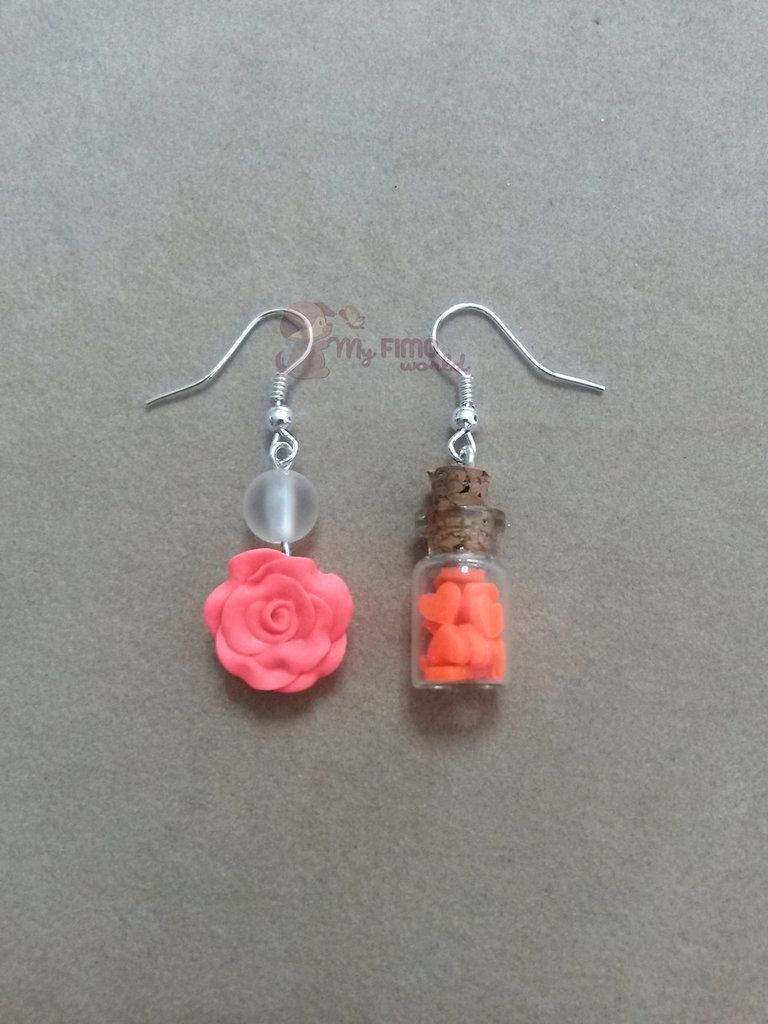 Orecchini pendenti con rosa e bottiglietta con cuoricini fimo