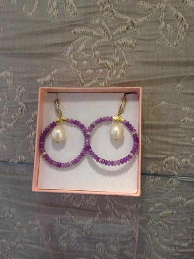 orecchino a cerchio con argento925 e ametista lavanda
