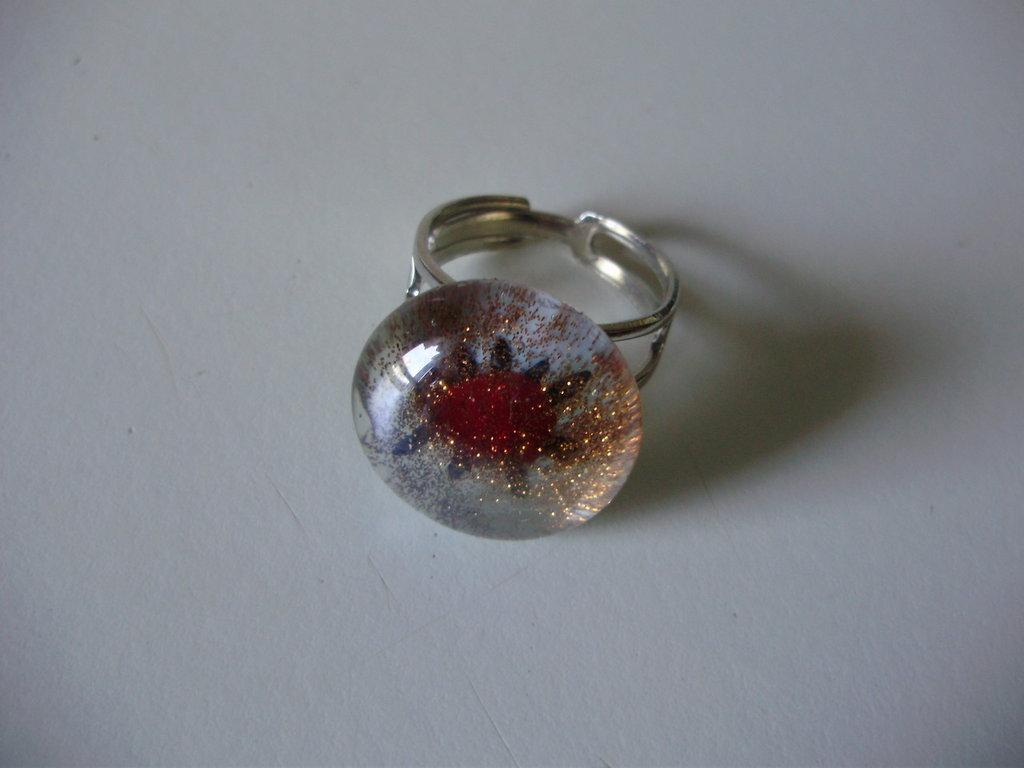 ANELLO in vetro dipinto a mano, metallo anallergico regolabile