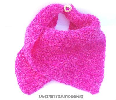 Scaldacollo fucsia in maglia - modello bandana