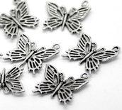 n.4 charms farfalla argento antico 20 x 20 mm