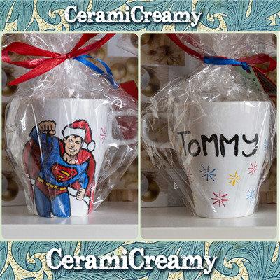 Tazza mug Superman dipinta a mano