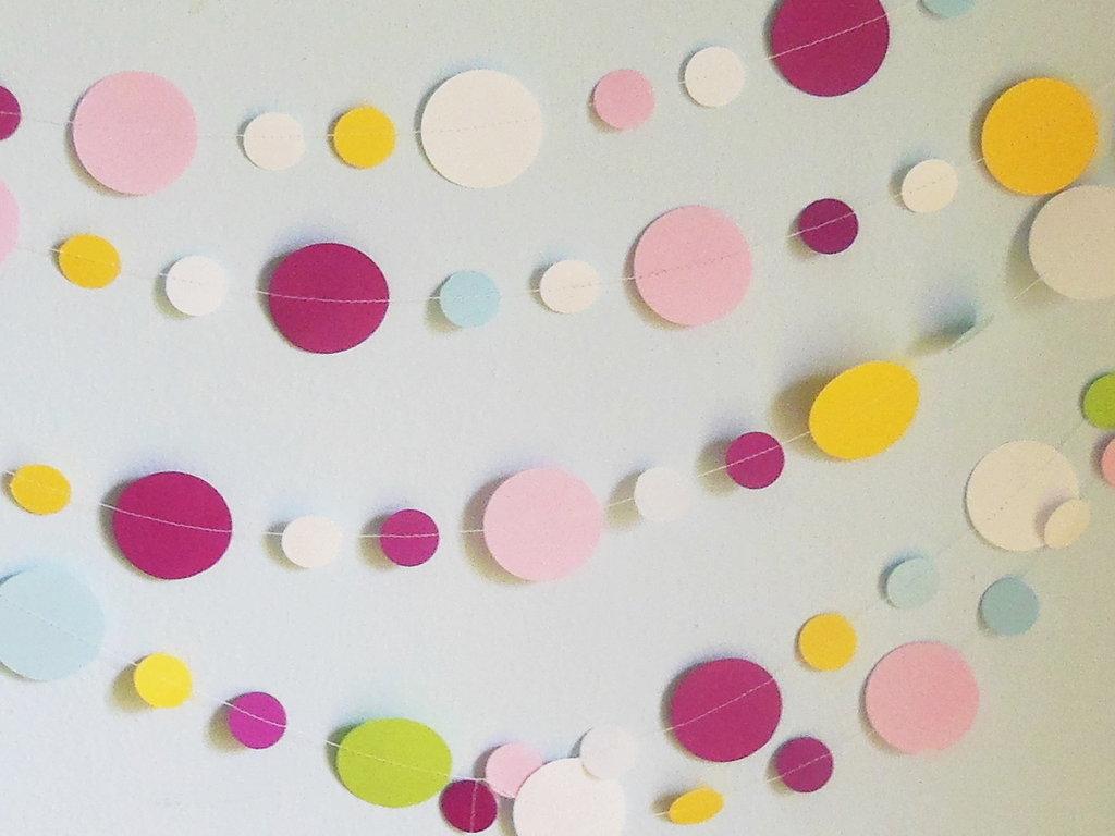 (5m) Ghirlanda di cerchi di carta colorata