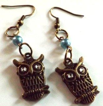 Orecchini bronzo perle e gufi con strass vintage