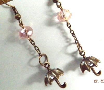 Orecchini bronzo vintage ombrellini,strass e cristalli