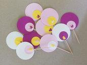 10 Cupcake-Topper personalizzabili: stuzzicadenti 'Nascita' sul rosa diversi tra loro