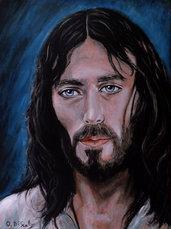 capoletto moderno Gesù di nazaret acrilico su tela dipinto a mano