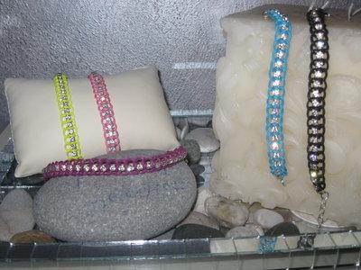 Braccialetti con catena di cristallo ecordini cerati coloratissimi