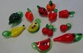 12 Perline Fruttini in Vetro