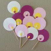 20 Cupcake-Topper personalizzabili: stuzzicadenti 'Nascita' rosa diversi tra loro