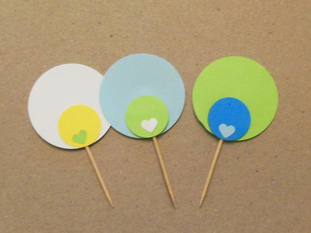 50 Cupcake topper sull'azzurro : per stuzzicadenti vestiti a festa per il compleanno del vostro bambino