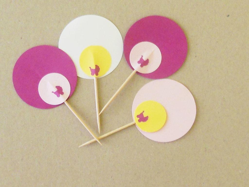 50 Cupcake topper sul rosa: per stuzzicadenti vestiti a festa per il compleanno della vostra piccola principessa