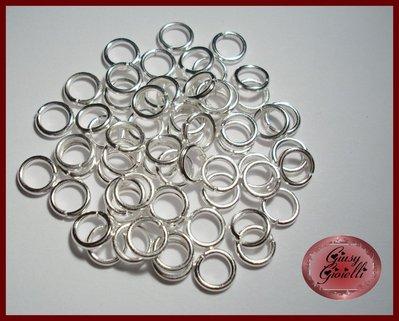 30x anellini silver plated 8 mm. diam. 1,5 mm. spessore
