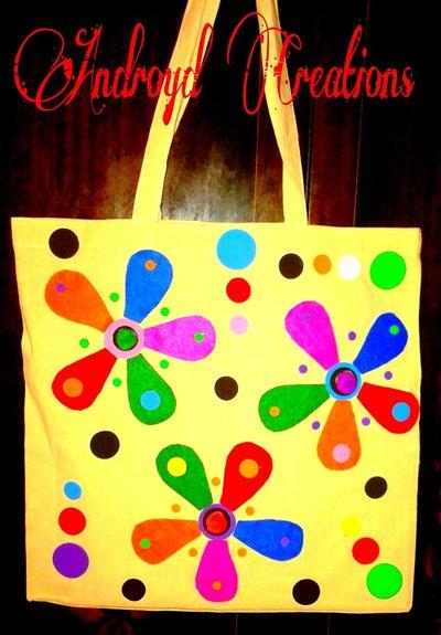 borsa di cotone fatta a mano con feltro