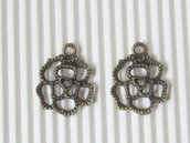 6 charms rosa filigrana in bronzo, 20x17mm
